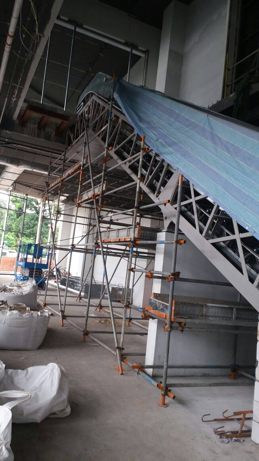 Scaffold for installation of escalator @ Soon Lee Rd 2